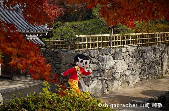 なんとか紅葉が散り去る前にくることができました。日吉大社参道沿いにある里坊のひとつ律院前にて。とび太くんも律院の厳しい修行には向いてるはず(笑)