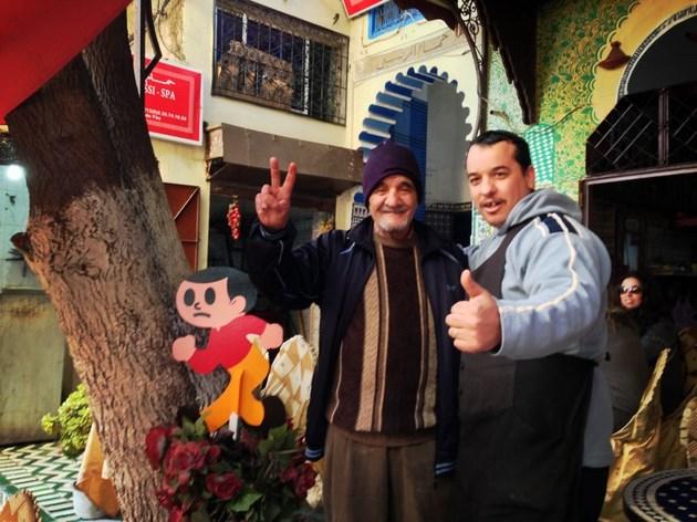 とび太くん、モロッコ北部の町、フェズの旧市街に飛び出し完了とのこと
