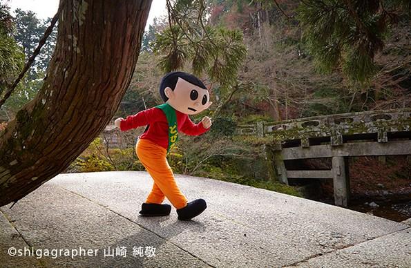 日吉大社の入り口付近にある日吉三橋で飛びだすとび太くん。太閤秀吉が寄進したもので、日本最古の石橋ともいわれ、重要文化財にも指定されています。しっかりとした造りで、400年を経た今も健在です。