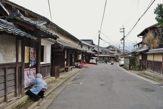 風情のある坂本の町並み。